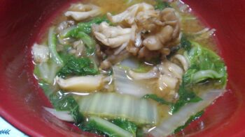 白菜と大葉の味噌汁