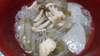 ごぼうと大根のしらたきスープ