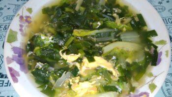 山東菜とにらのスープ